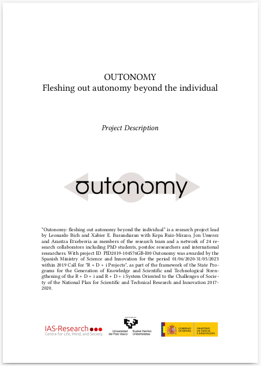 Front cover of the Outonomy project description document